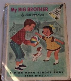 My Big Brother by Miss Frances Vintage 1950s Ding Dong Book Scarce Hardcover Childrens Nursery Rare Family Siblings Kids Sharing Caring TV by SoaringHawkVintage on Etsy