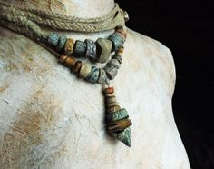Artisan Necklace choker StonewareCeramic Braided by greybirdstudio