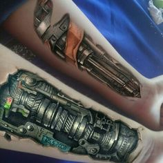 Tatuajes Biomech Tattoo, Biomechanical Tattoo Design, Cyborg Tattoo, Robot Tattoo, 3d Tattoos, Wolf Tattoos, Forearm Tattoos, Body Art Tattoos, Sleeve Tattoos