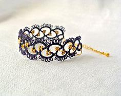 Artículos similares a tatuado el sistema de la joyería: collar y pendientes en azul marino y oro / delicado collar / minimalista collar en Etsy