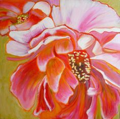 Peony Exuberance : Flower painting tutorial with acrylic and pastel | paintingdemos.com