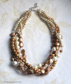 Large Statement Bridal Necklace Rose Copper Coin Pearl 5 Strands by bespangledjewelry, $388.00