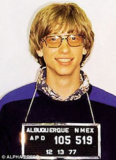 """""""On April 29th, 1975, at the age of 19, Bill Gates (founder of Microsoft) was arrested by the Albuquerque Police department (arrest record #52090). The charges were speeding and driving without a license. It was the first of three arrests in the late seventies by Albuquerque Police."""""""