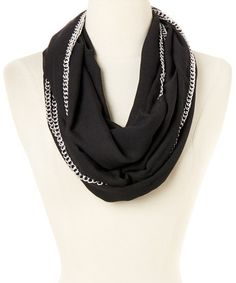 Another great find on #zulily! Black Chain Link Infinity Scarf by Betsey Johnson #zulilyfinds