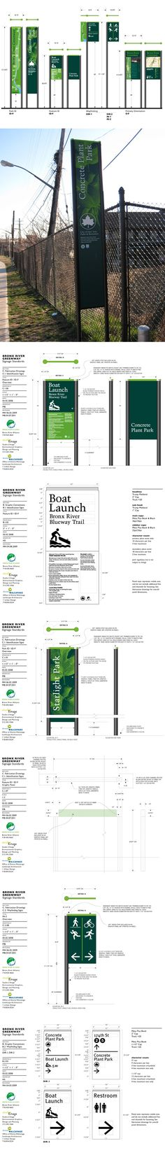 Dimensions and other design standards -- Bronx River Greenway Signage by Michael Benvenga, via Behance Signage Board, Park Signage, Signage Display, Signage Design, Environmental Graphic Design, Environmental Graphics, Wayfinding Signs, Exterior Signage, Exterior Design