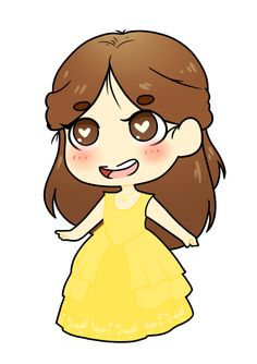 Emma Watson as Belle Chibi by ScreamingXAX.deviantart.com on @DeviantArt