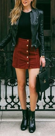 #fall #fashion / leather + red skirt topreviews.momsmags.net
