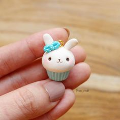 My style does change slightly overtime New color of bunny cupcake charm. I bend one ear to make it looks cuter #polymerclay #handmade