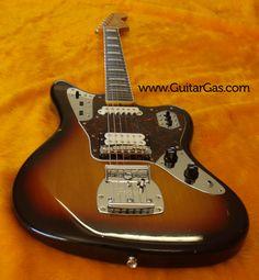 Three tone Sunburst Fender Jaguar with block inlays. 2002 Crafted in Japan.