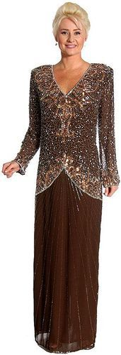 Brown/Silver Silk Chiffon Beaded Sequined Mother Of Bride Dress extra beads 2X this is a new dress, but it came to us with some beads missing, but there is a small bag of extra beads & sequins to help replace the lost ones.