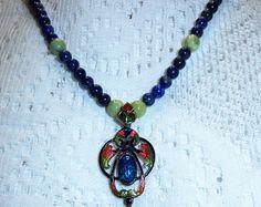 Antique Art Nouveau Sterling Silver Enamel Pendant Lapis & Chrysoprase Bead Necklace