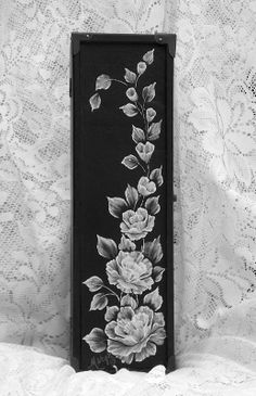 Long Black Box with 3D Texture Roses Spray by MargotTheMUDLady, $40.00