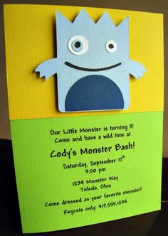 Little Monster Party Invitations Invitation Halloween Boy Birthday Set Of 12