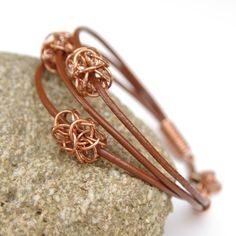 Leather cord bracelet / brown leather / copper jewelry / by Verha #Chainmaille