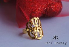 14K Gold Filled Monogram Ring - Personalize It With your Initials via Etsy