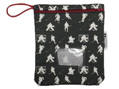 Reusable Snack Bag or Carrying Pouch in Black Hockey- BPA Free- Machine Washable- 3 Color Options