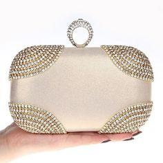 Diamonds Women Evening Bags Chain Shoulder Purse Handbags One Side  Rhinestones Evening Clutch Bags Wedding Party 885c54ea26f0