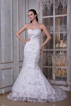 Meerjungfrauen Stil Herz Ausschnitt Weiß Spize Brautkleider