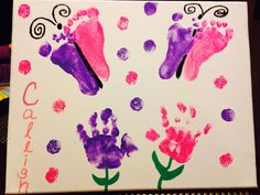 Mothers Day present for my daughter!  Feet prints turned into Butterflies and hand prints turned into flowers.  I thought they turned out pretty good considering the twins are 11 months old...