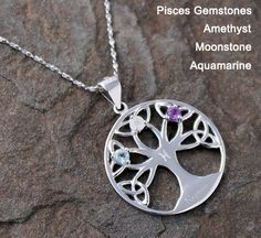 Fortune Tree - Sterling Silver Necklace For Zodiac Sign of Pisces