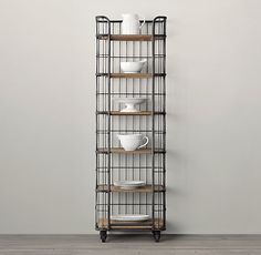 circa 1900 caged baker s rack narrow single shelving something like this for the far corner in the dining room where the dog food water bowl is now