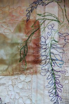Wisteria Detail Travel and textile art: Less is more Cas Holmes Fiber Art Quilts, Textile Fiber Art, Textile Artists, Organic Forms, Natural Forms, Thread Art, Thread Painting, Cas Holmes, A Level Textiles