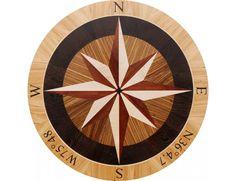 Wood Compass Rose Floor Medallion Inlay
