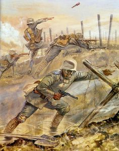 Tropas de asalto alemanas atacan entre nubes de gas. Del libro de Osprey,