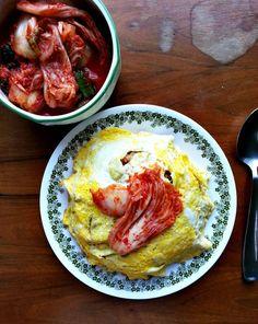 Omurice with Kimchi Fried Rice (Japanese + Korean Fusion)