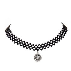 Punk Black Lace Choker Necklace For Women SunFlower Pendant Rhinestones Collar Necklace Party Gothic Boho Jewelry  #Affiliate