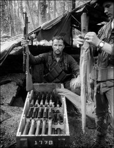 Crate of SKS rifles captured by the 1st Cavalry. Photo by Dean Sharp 1969-70.