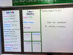 Agenda board. Love this idea. I had a history teacher tape off sections of his board (obviously not with frilly tape... ) for different sections like shown.