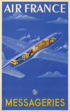 air france messageries : 1950 affiches anciennes de ATELIER PERCEVAL