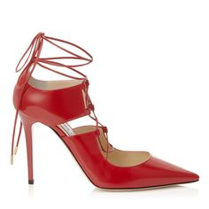 Auth Jimmy Choo Hoops Red Pointed Lace Up Pumps
