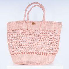 dusty pink open-weave shopper bag