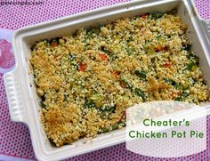Paleo Easy Chicken Pot pie would be amazing in the Pampered Chef Rectangular Baker stoneware!  www.pamperedchef.biz/leahperrier