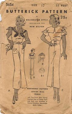 1920s 1930s Vintage Sewing Pattern by AdeleBeeAnnPatterns on Etsy, $25.00