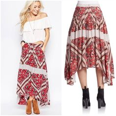 """💥SALE💥 Free People Printed Paradise Skirt brand new with tags Free People Printed Paradise Midi Skirt.  Stripes, microdots and hand-drawn flowers define the pattern-blocked design of a pleated midi skirt cut with a drapey handkerchief hem. Banded waist with hidden back zip closure, side pockets and pleats.  Appx. 28"""" shortest length, 36"""" longest length. Free People Skirts Asymmetrical"""