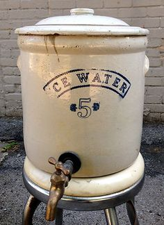 Antique White Hall Illinois Sp Stoneware Pottery #5 Ice Water Cooler Crock Jar | Antique Stoneware Shop