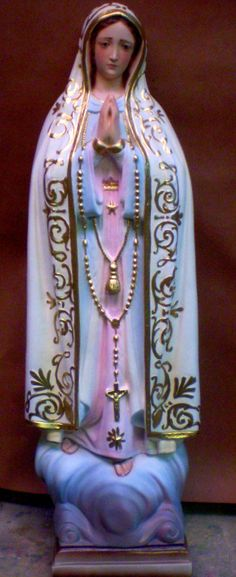 """24"""" PLASTER STATUE Our Lady of Fatima Pink by MotherMaryShabbyShop"""