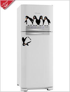 Adesivo decorativo para geladeira: Pinguins. Decore sua geladeira com adesivo decorativo para geladeira pinguins super descolados. Decore Ideias - Adesivos Decorativos, Presentes Criativos, Papeis de parede e muito mais.