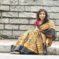 These are timeless classics .. got this about 7 years back.. still ppl want it when I wear it.. a traditional cotton with silk border saree with hand painted kalamkari Www.aavaranaa.com