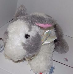 LARGE-16-034-2012-ANIMAL-ADVENTURE-Soft-GREY-amp-WHITE-Plush-Bunny-Rabbit