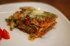 Dugurd: Vegetarlasagne med grillet squash og paprika toppet med parmesan