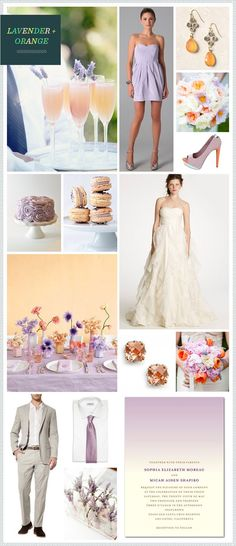 Lavander and Orange with mocha not gray fall Wedding Theme