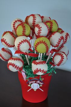 Baseball theme birthday cake pop bouquet, complete with softballs for the girls