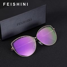 9f5695d1137 FEISHINI Brand Metal Frame Rose Gold Cateye Sunglasses Ladies HD Mirror 2018  Fashion Trendy Womens Glasses UV Protector Gradient