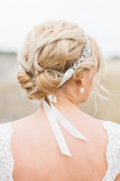 Sparkly bridal headband tied in the back