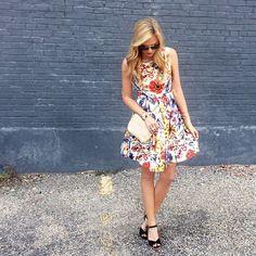floral print dress and espadrilles / summer dress idea