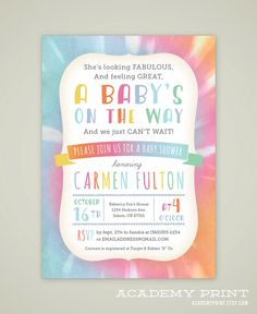 Printable Tie Dye Baby Shower Invitation - Gender Neutral Shower Invite - Rainbow Baby Shower Invitation